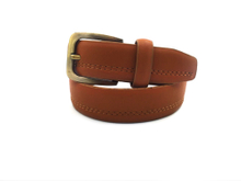 AF-072 Boys Stitching Tan Fashion Easy Belt with Antique Buckle