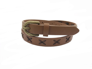 AF-060 Womens brown leather fashionable belt with buckle