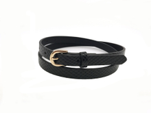 AF-100 Womens black skinny belt with gold buckle