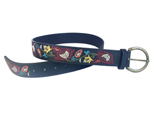 AF-079 Womens leather embroidary belt with buckle
