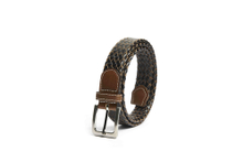 AF-233 Mens black leather braided belt with buckle