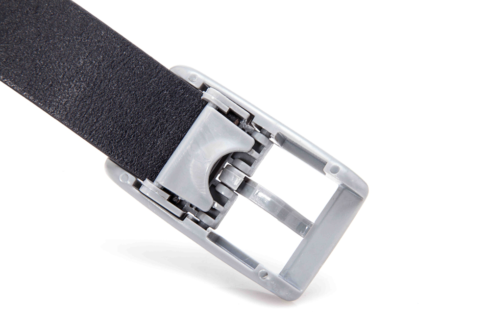 AF-227 Mens black leather dress belt with automatic buckle