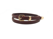 AF-080 Women's burgundy leather fashion belt with rose gold buckle