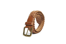 AF-231 Mens light brown leather braided belt