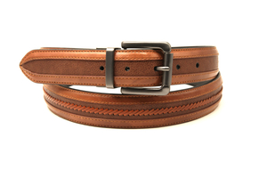 AFM7338 Men Casual PU Leather Belt with Leather Piece Handmade design