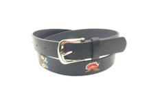 Women black casual wide embroidery leather belt AFL71063
