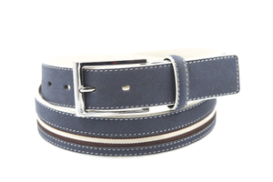 AFM7043 Mens Blue Suede Leather Fashion Belt with Pin Buckle