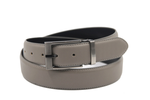 AFM7007 Mens Grey PU Formal Belt with Gunmetal Buckle