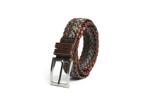 AF-229 Mens brown jeans leather braided belt