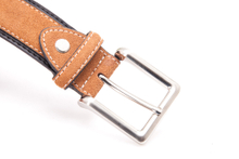 AFM7050 Mens brown designer suede leather belt